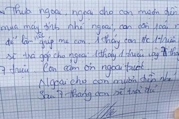 Bé gái viết tâm thư vay tiền ngoại mua máy tính