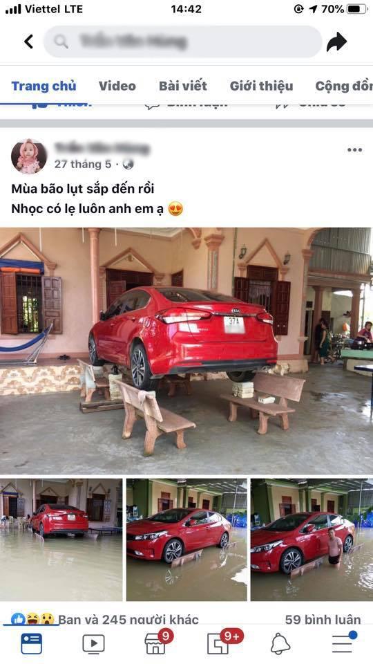 Chủ xe ở Nghệ An chống ngập cho ôtô nhờ ghế đá và gạch - ảnh 4