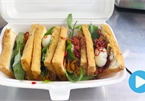 Vietnamese food: Fried tofu sandwich