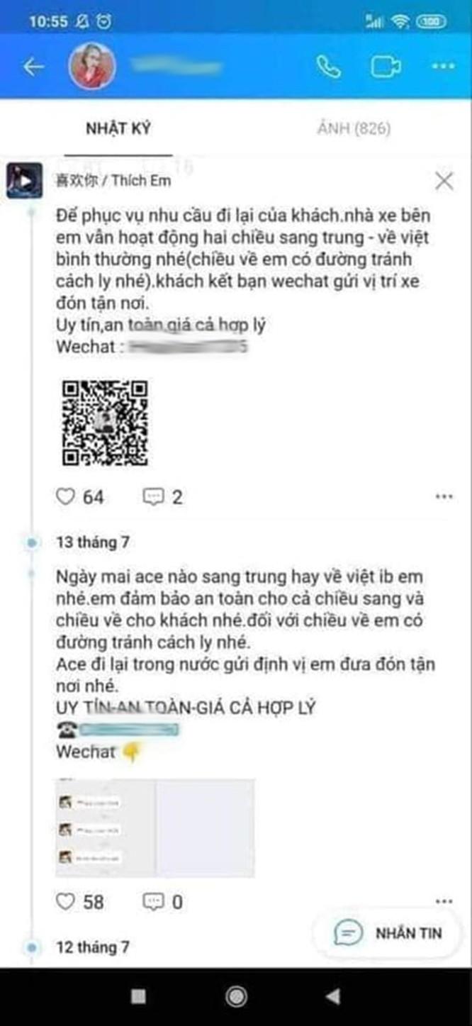 Giật mình với những quảng cáo đưa người qua biên giới Việt - Trung trốn cách ly trên mạng xã hội - ảnh 4