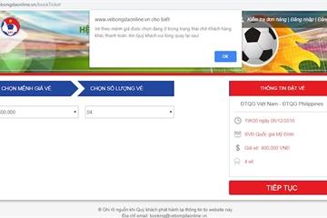 """Mua vé online trận Việt Nam vs Philippines: Hết nghẽn mạng, lại đến """"vé đang chờ khách hàng khác thanh toán"""""""