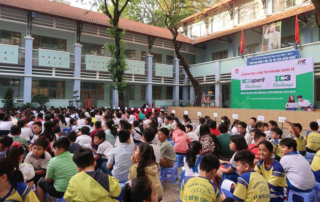 Hàng ngàn học sinh TP.HCM dự vòng Sơ loại cuộc thi Tin học quốc tế IC3 Spark Challenge & IC3 Challenge | Khai mạc cuộc thi Tin học quốc tế cho học sinh Tiểu học, THCS tại TP.HCM năm học 2018-2019