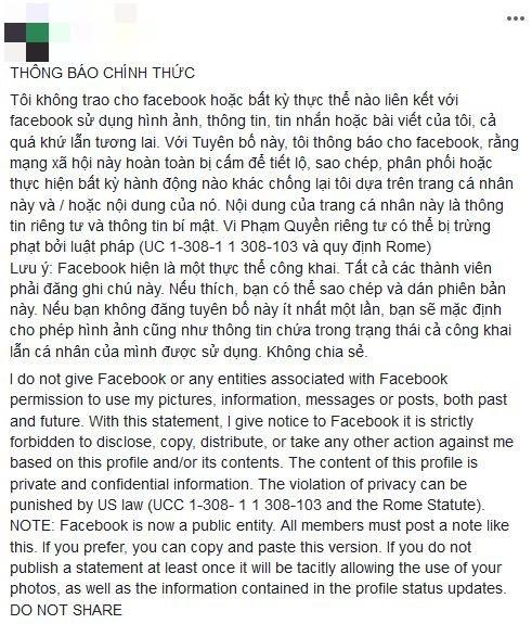Nhẹ dạ cả tin, người dùng Facebook Việt lại sập bẫy trò lừa bắt đăng tải lại status để bảo vệ thông tin cá nhân - Ảnh 1.