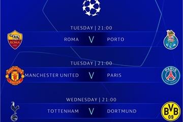 Lịch bóng đá Champions League vòng 1/8 tuần này