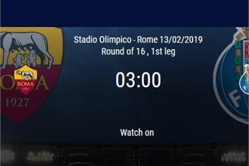 Kèo bóng đá Cúp C1 đêm nay: Roma vs Porto