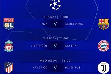 Lịch bóng đá Champions League vòng 1/8 tuần này: Liverpool vs Bayern, Atletico vs Juventus