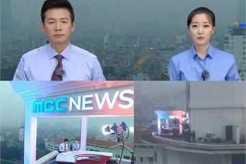 Trường quay 'dã chiến' của các đài truyền hình Hàn Quốc tại Hà Nội