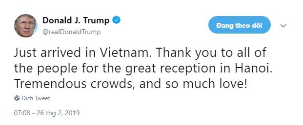 Vừa về khách sạn, ông Trump dành nhiều lời có cánh ca ngợi buổi đón tiếp tại Hà Nội - Ảnh 1.