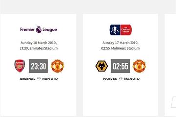 Lịch thi đấu của Manchester United phần còn lại của mùa giải