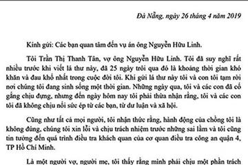 Vợ Nguyễn Hữu Linh: Sự việc là bản án chung thân đối với gia đình chúng tôi!