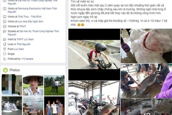 Thanh niên làm thịt cá mập đầu búa, rao bán vây 10 triệu trên Facebook