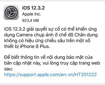 Apple tung ra iOS 12.3.2, người dùng iPhone 8 Plus cần đặc biệt lưu ý - Ảnh 1.