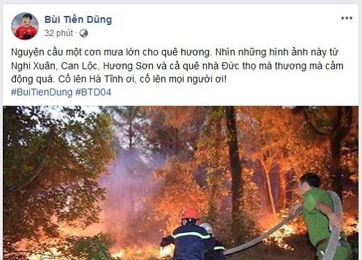Trung vệ Bùi Tiến Dũng cùng cư dân mạng cầu mưa cứu rừng Hà Tĩnh