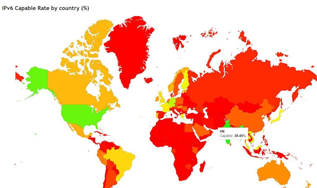 Viettel, VNPT, MobiFone, FPT dẫn đầu về chuyển đổi sang IPv6 tại Việt Nam | Việt Nam vươn lên dẫn đầu ASEAN về tỉ lệ ứng dụng IPv6 | Việt Nam xếp thứ 2 châu Á về tỉ lệ ứng dụng địa chỉ Internet IPv6 với 16 triệu người dùng