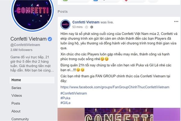 Game Confetti trên Facebook Việt Nam nói lời từ biệt