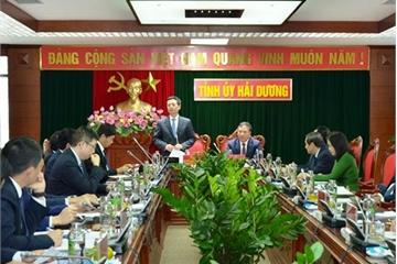 Bộ trưởng Nguyễn Mạnh Hùng: Hải Dương cần xây dựng các doanh nghiệp địa phương để đưa công nghệ về hỗ trợ người dân