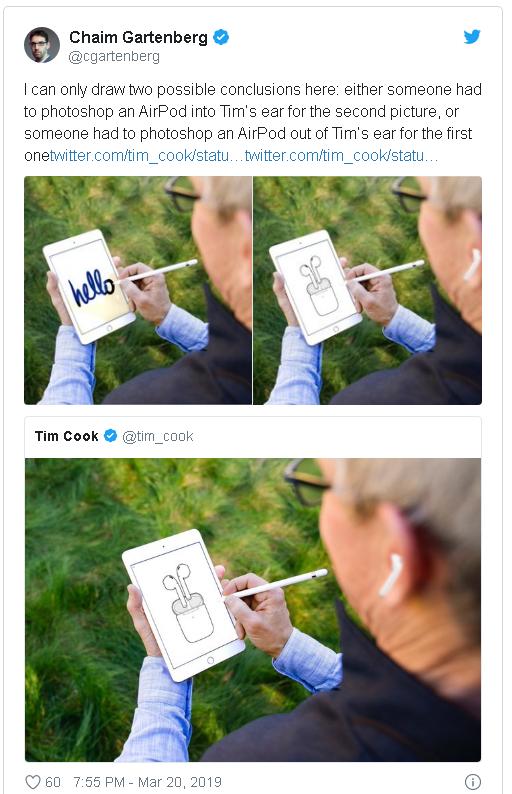 """Màn đổi avatar """"kém duyên"""" nhất ngày: CEO Apple khoe AirPods Pro mới, hoá ra chỉ là Photoshop? - Ảnh 3."""