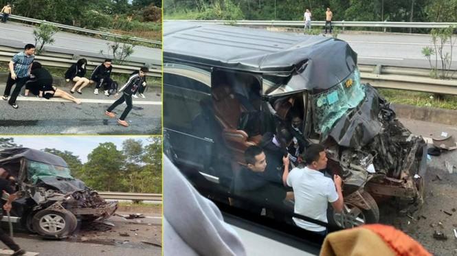 Nóng: Xe Limousine tông đuôi ô tô đầu kéo trên cao tốc, 8 người bị thương - ảnh 1