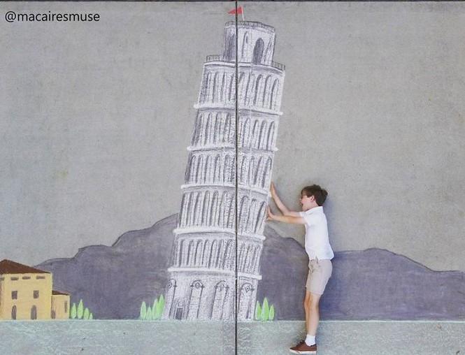 Cậu bé 14 tuổi vẽ tranh 'du lịch vòng quanh thế giới' cho em trai - ảnh 15