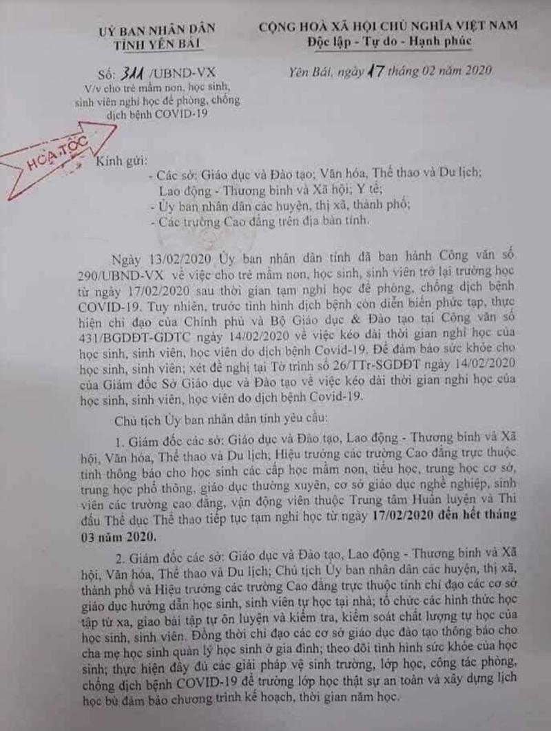 cong van cho hoc sinh o yen bai nghi hoc het thang 3/2020 la gia mao hinh 1