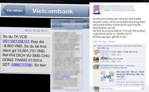 Vietcombank nửa đêm nhắn tin trừ tiền - ảnh 1