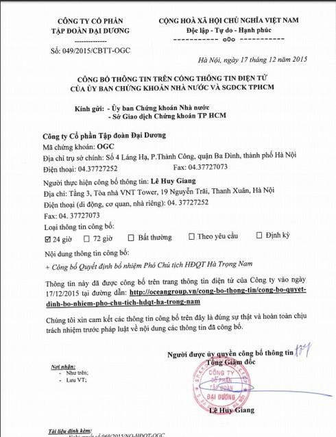 Anh trai ông Hà văn Thắm được bổ nhiệm Phó chủ tịch Tập đoàn Đại Dương - ảnh 1