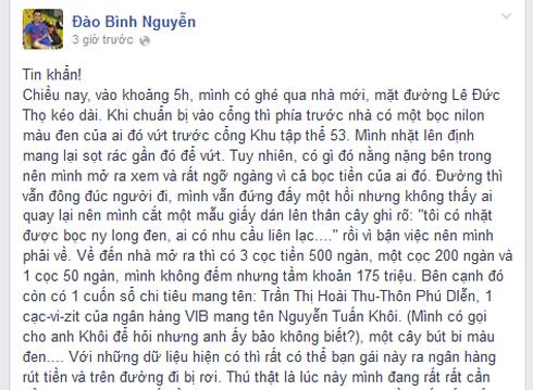 Một Facebooker đăng tin khẩn tìm người rơi 175 triệu đồng để trả lại - ảnh 1
