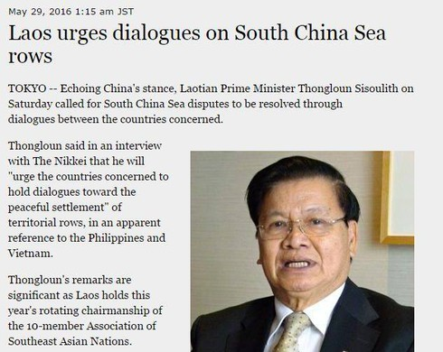 Nikkei Asian Review đăng sai phát biểu của Thủ tướng Lào về Biển Đông - ảnh 2