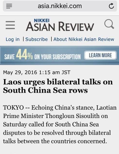 Nikkei Asian Review đăng sai phát biểu của Thủ tướng Lào về Biển Đông - ảnh 1