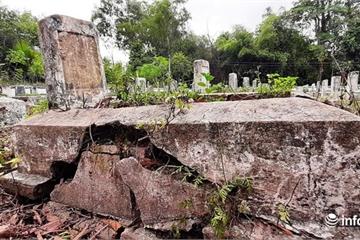 Xót xa những ngôi mộ Liệt sỹ bị sụt lún, nứt nẻ ở Nghệ An
