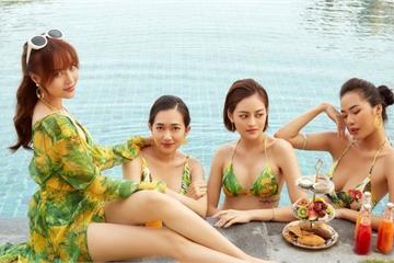 """Ninh Dương Lan Ngọc lộ hình xăm gợi cảm, diện bikini cùng dàn""""gái già lắm chiêu"""""""