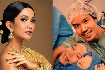 """""""Phù dâu"""" H'Hen Niê chúc mừng Miss Universe Thái Lan đã sinh con đầu lòng"""