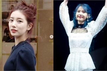 Suzy khoe góc nghiêng đẹp như tạc tượng, IU gây bão với mái tóc xanh dương