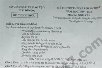 Đáp án đề thi môn Văn vào lớp 10 thành phố Hải Dương năm 2019
