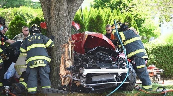 Hình ảnh hiện trường vụ tai nạn của xe Toyota Supra