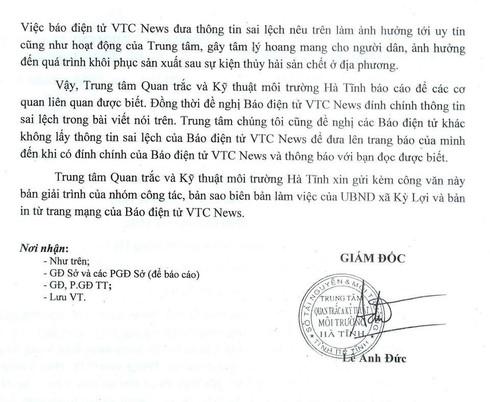 Trung tâm quan trắc môi trường Hà Tĩnh lên tiếng về video cá chết của VTC News - ảnh 3