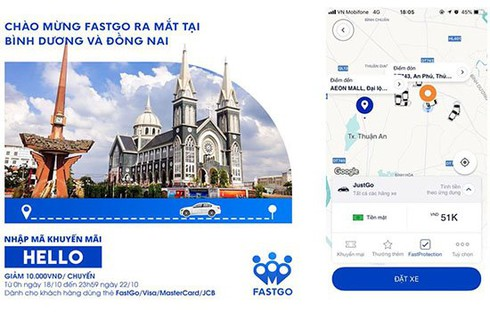 FastGo tiếp tục ra mắt tại Bình Dương, Đồng Nai, khuyến mại lớn cho khách đi lần đầu | Ra mắt tiếp tại Bình Dương, Đồng Nai, ứng dụng gọi xe Fastgo đã