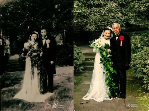 Cảm động đôi vợ chồng già chụp lại ảnh cưới sau 70 năm ở cùng địa điểm - ảnh 2