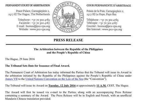 Ngày 12/7, công bố phán quyết vụ Philippines kiện Trung Quốc về Biển Đông - ảnh 1