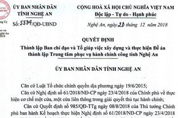 Xây dựng Đề án thành lập Trung tâm phục vụ Hành chính công tỉnh Nghệ An