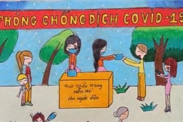 Nghỉ học, học sinh Hải Phòng thi vẽ tranh phòng, chống Covid-19