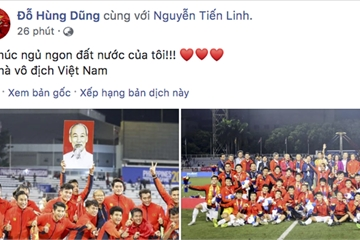 """Các cầu thủ U22 Việt Nam """"khoe"""" chiến công sau chiến tích SEA Games"""