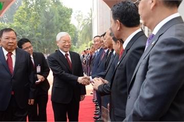 Hình ảnh ngày đầu thăm Lào của Tổng Bí thư, Chủ tịch nước Nguyễn Phú Trọng
