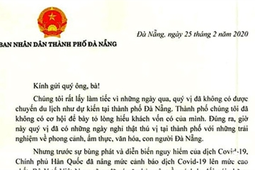 Chủ tịch TP Đà Nẵng gửi thư cho khách Hàn Quốc, Thái Lan phải cách ly, về nước