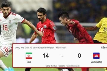 Việt Nam thắng Malaysia 1-0, ở một diễn biến khác Campuchia thất thủ 14-0 trước Iran