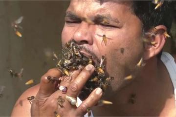 """Kinh hoàng cảnh người đàn ông """"nhốt"""" ong vào miệng khi lấy mật"""