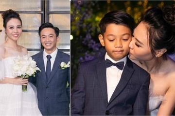 Đàm Thu Trang ôm hôn con riêng của chồng trong ngày cưới