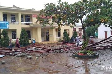 Hà Tĩnh: Lốc xoáy trong đêm, trường học và hàng chục hộ dân bị tốc mái