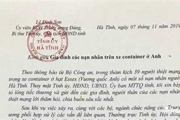 Bí thư Hà Tĩnh gửi lời chia buồn đến gia đình các nạn nhân tử vong tại Anh