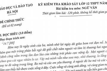 Đề thi thử THPT quốc gia 2019 môn Văn tại Hà Nội
